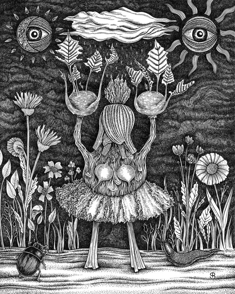 black and white illustration representing pagan ritual