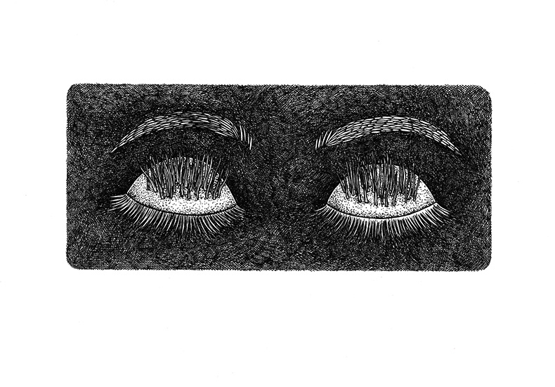 black and white drawing representing curious eyes