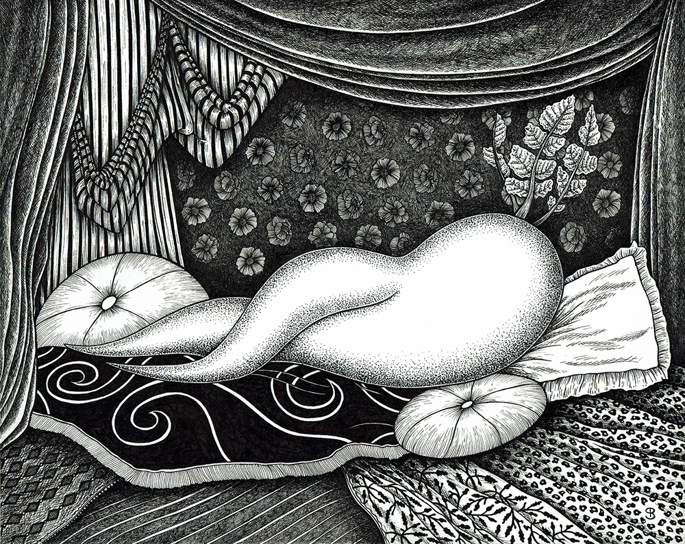 black and white drawing representing a sexy radish